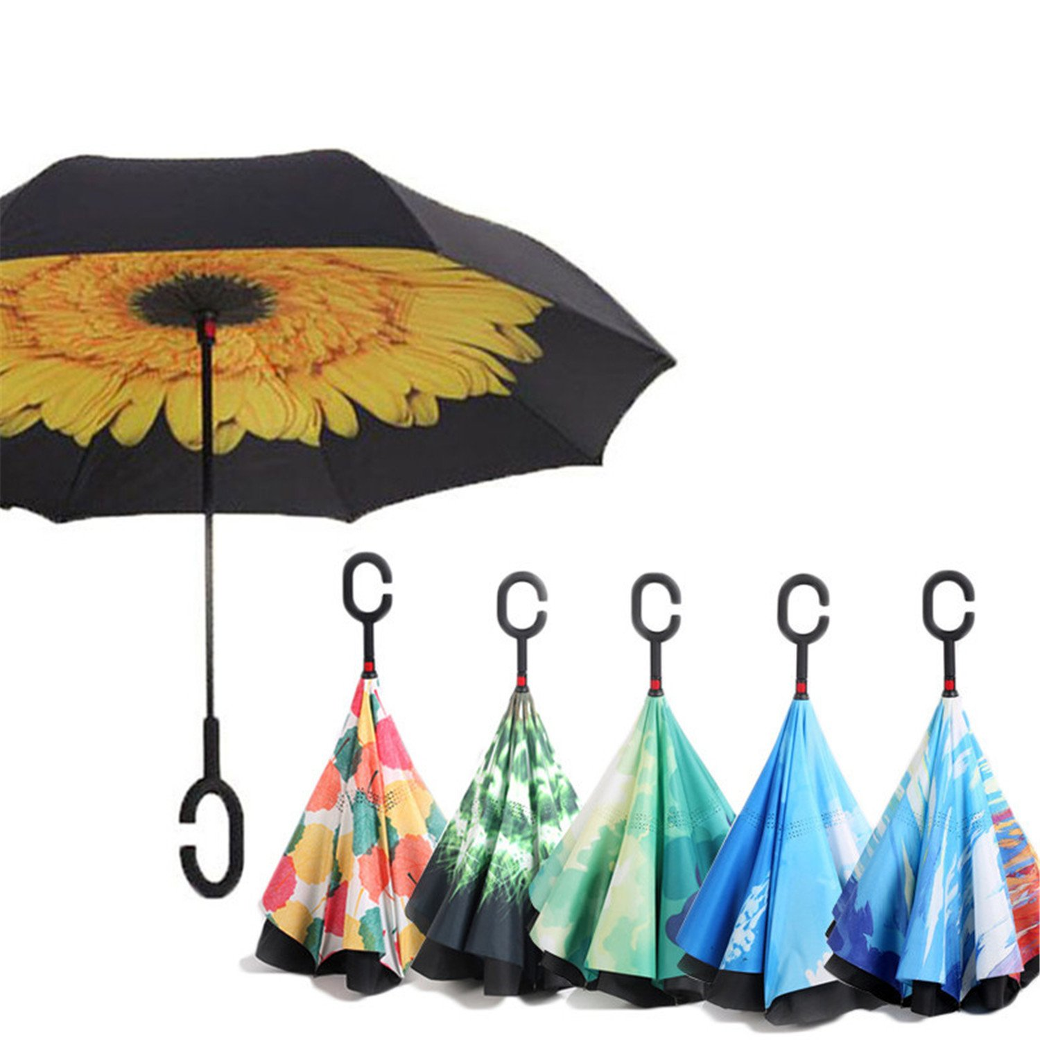 Amazon.com: Hogonta Reverse Umbrellas Folding Double Layer Inverted C Hand Holder Stand Rain Windproof Rolling Over Umbrella Black: Sports & Outdoors