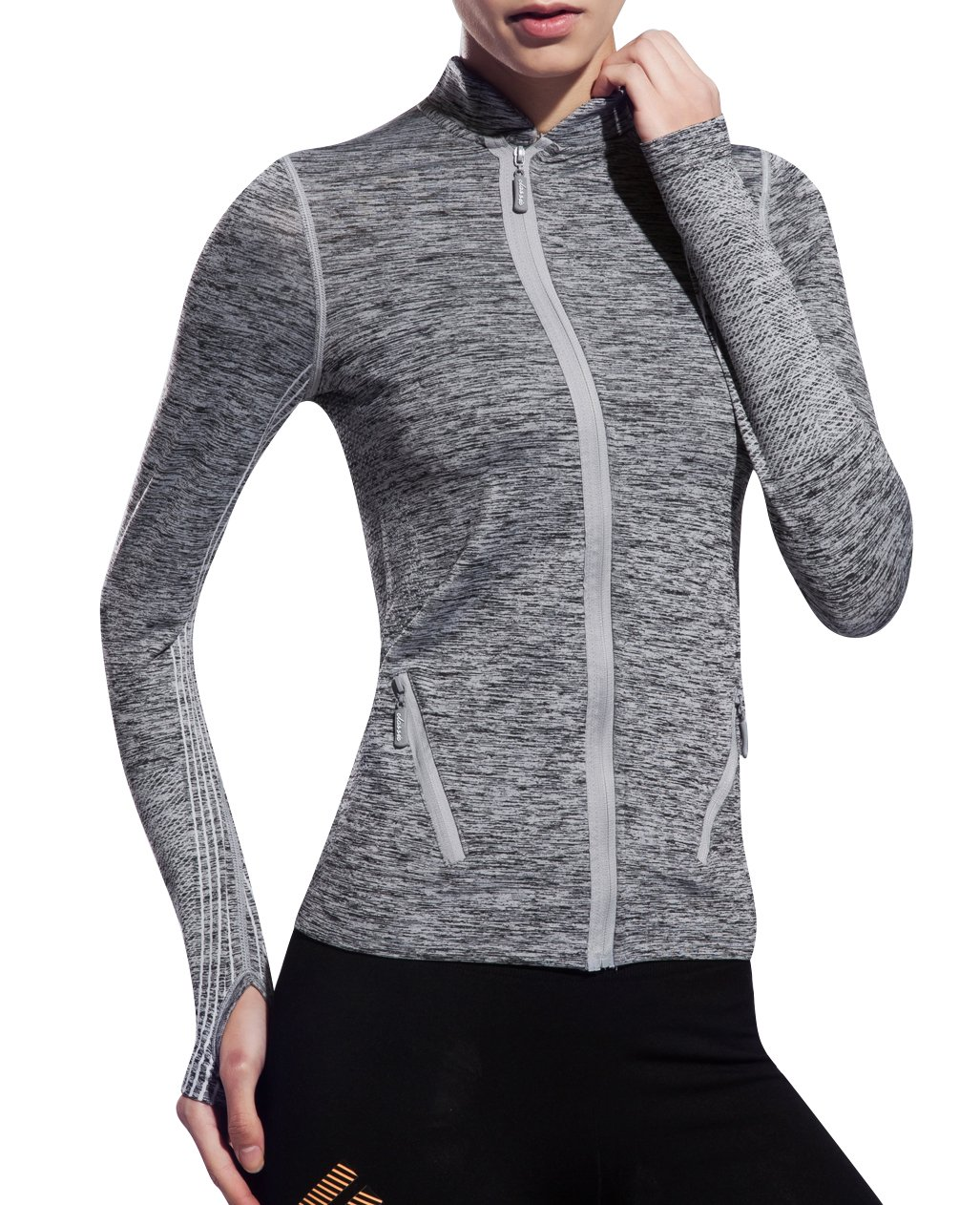 UDIY Women Yoga Jacket-Slim Sports Full Zip Coat with Two Size Pockets-Gray by UDIY