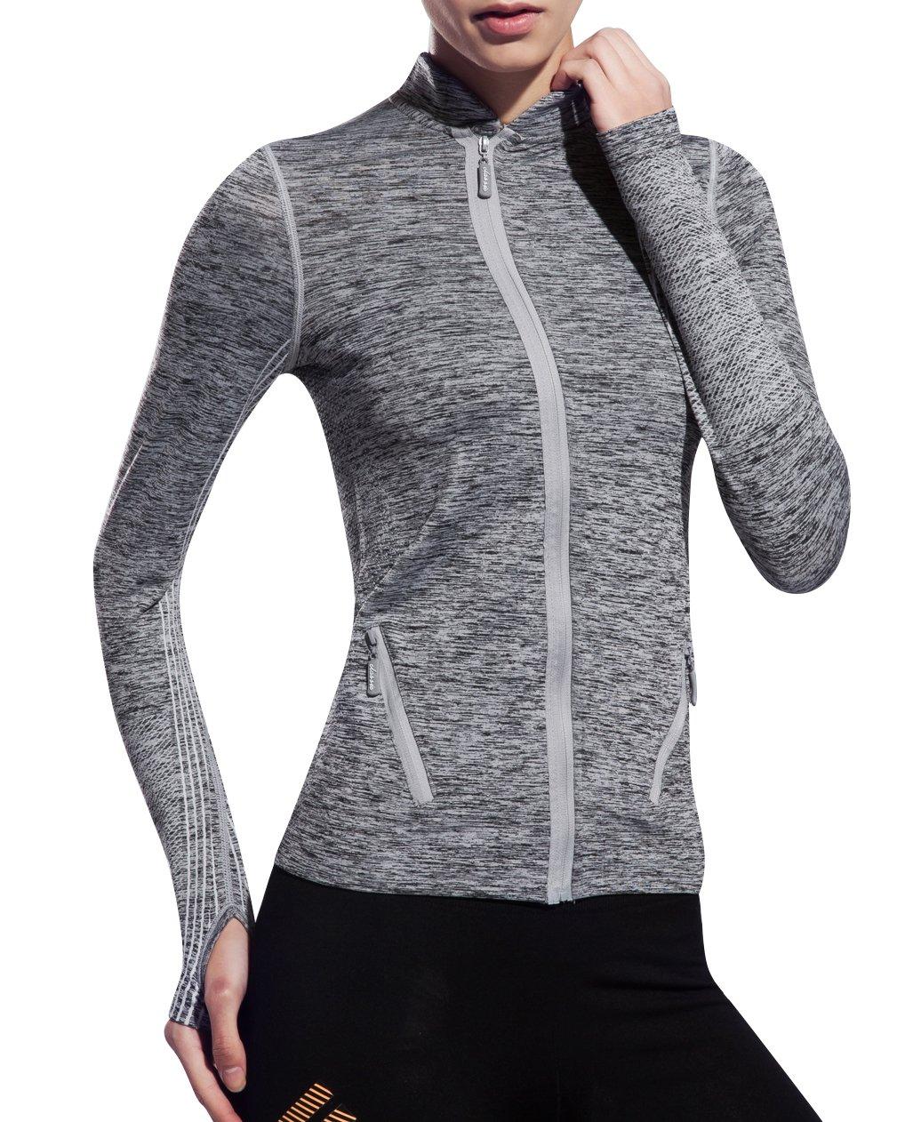 UDIY Women Yoga Jacket-Slim Sports Full Zip Coat with Two Size Pockets-Gray