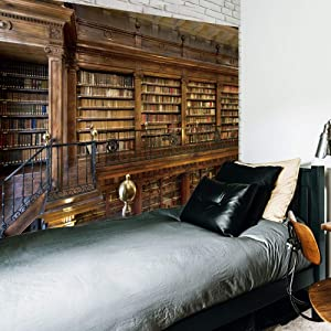 Riyidecor Vintage Wooden Library Tapestry Gothic Bookshelf Tapestry Full of Old Books Tapestry Two Floors Classical Antique Historic Hippie Art Wall Hanging Indigenous Bedroom Living Room 80x60 Inch