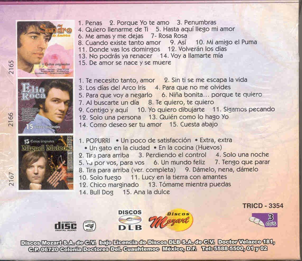 SANDRO, MIGUEL MATEOS, ELIO ROCA - 45 EXITOS: SANDRO MIGUEL MATEOS Y ELIO ROCA - Amazon.com Music