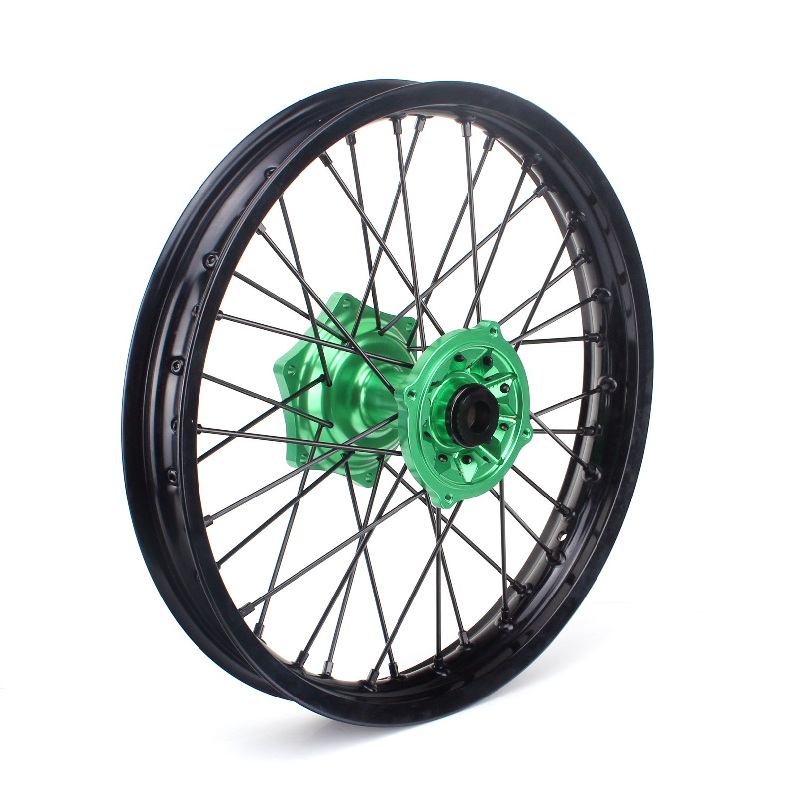 TARAZON 19 x 2.15 MX Complete Rear Wheel Kit Black Rim Green Hub for Kawasaki KX125 KX250 2003-2013 KX250F 2004-2017 KX450F 2006-2017 klx450 2007-2013