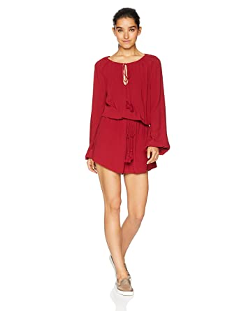 3709c12aef8 Amazon.com  Jack Women s On a Mission Rayon Crepe Tassel Tie Romper ...