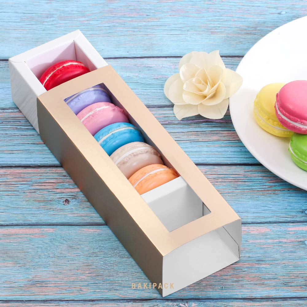 BAKIPACK Macaron Boxes for 6 Macarons (Pack of 25) Gold Macaron Boxes with Interior Meament 7.25'' x 1.8'' x 1.75'' Macarons Box with Clear Window (without Macaron inside) by BAKIPACK (Image #3)