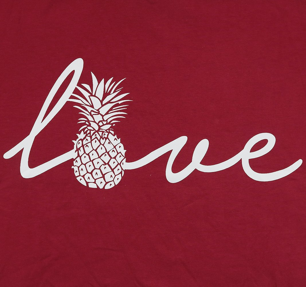 Love Letter Top Women Pineapple Shirt Letter Print Short Sleeve Crewneck T Shirt Size S (Red) by JINTING (Image #2)