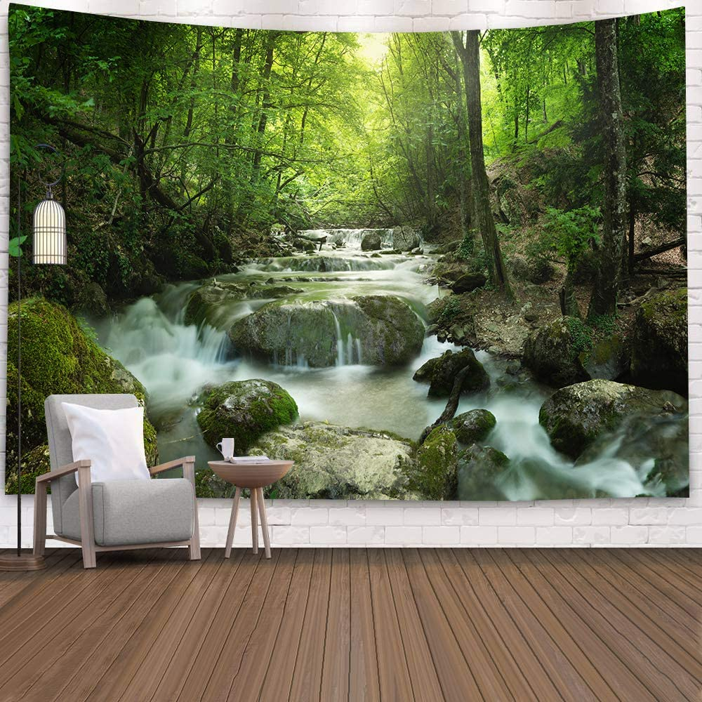 Nature Waterfall Tapestry, Fairy Image of Asian Waterfall by The Rocks in Forest Secret Paradise, Fabric Wall Hanging Decor for Bedroom Living Room Dorm