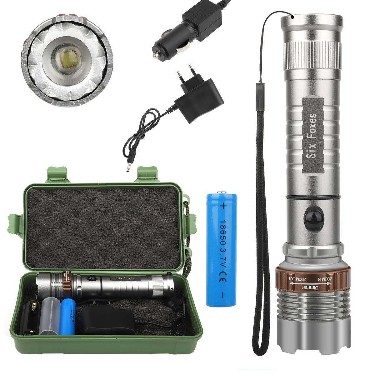 Super Lumineux Lampe de poche 8000LM T6lampe de poche LED High Power LED Lampe torche tactique Zoo Mable + 18650Chargeur Box, argent