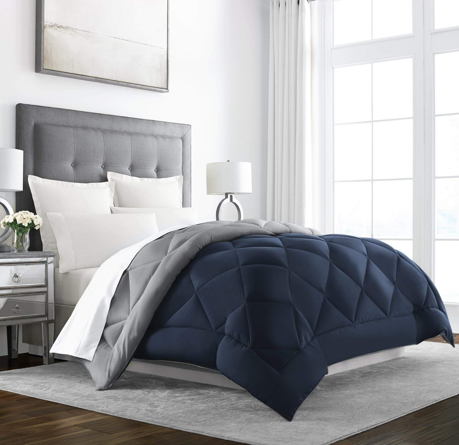 Sleep Restoration Goose Down Alternative Comforter - Reversible - All Season Hotel Quality Luxury Hypoallergenic Comforter -Full/Queen - Navy/Sleet