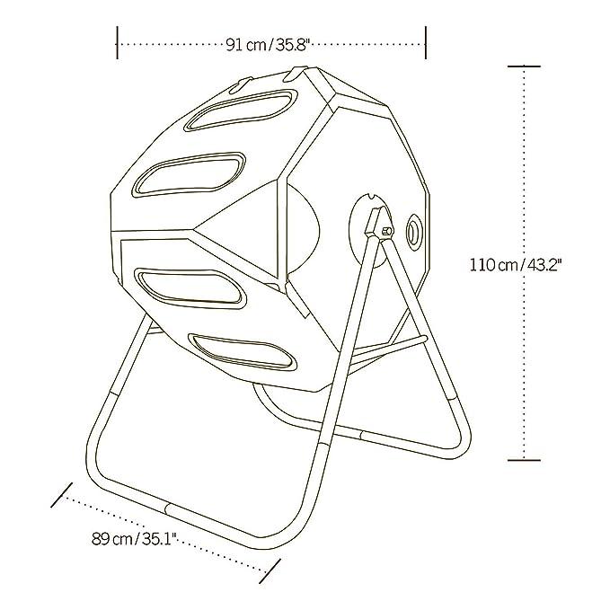 LIFETIME Vida 246 L (65 L) Vaso de Compost – Negro