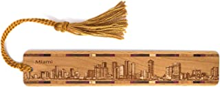 product image for Miami, Florida Skyline - Engraved Wooden Bookmark with Tassel