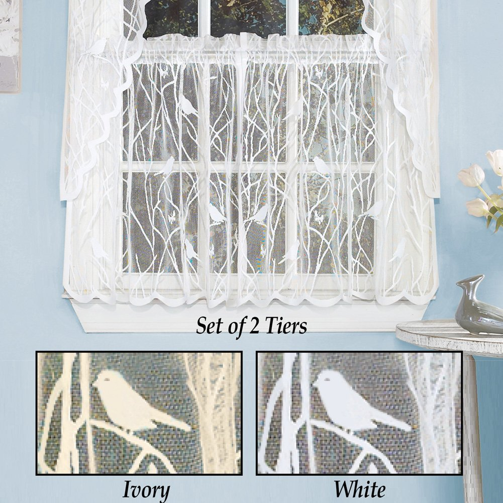 Songbird Lace Window Tier Pair , 56