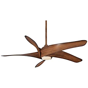 56 Inch Ceiling Fan Light Kit Remote Control LED Indoor Distressed Koa 3 Blade