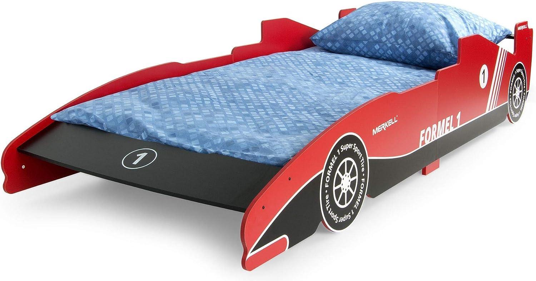 Leomark Cama Infantil de Madera 200/90 con colchón para Niños Muebles para Niños Dormitorio Corazón Tema: Fórmula 1 Color: Rojo