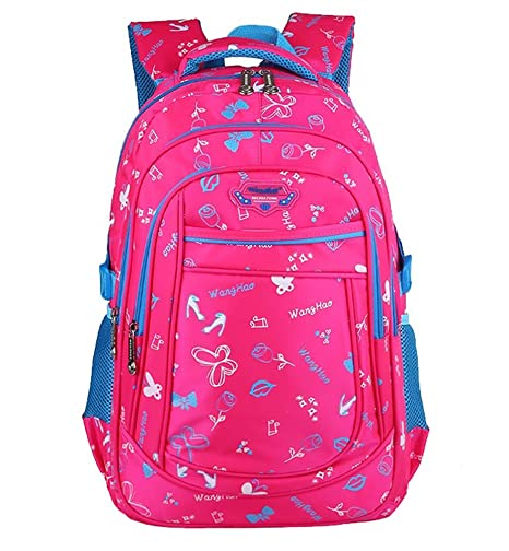 Yidasn Butterflies Print Kids Girls Backpacks School Bookbags Rose Red