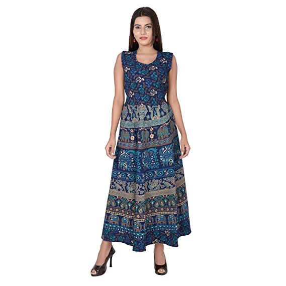 05a761a9851 Jaipuri Fashionista Women s Cotton Dress (Blue