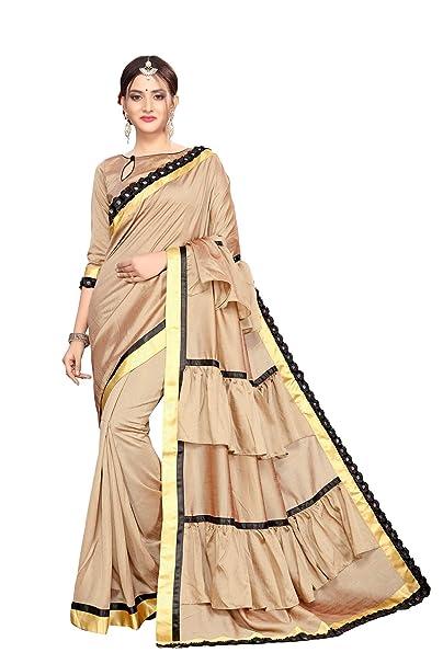 2823918f5266b0 Fab Dadu Women s Ruffle Silk Saree With Blouse Piece (Fd-Sr-10077 ...