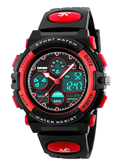 Gosasa impermeable natación reloj deportivo niños niñas LED Digital relojes para niños, correa de goma
