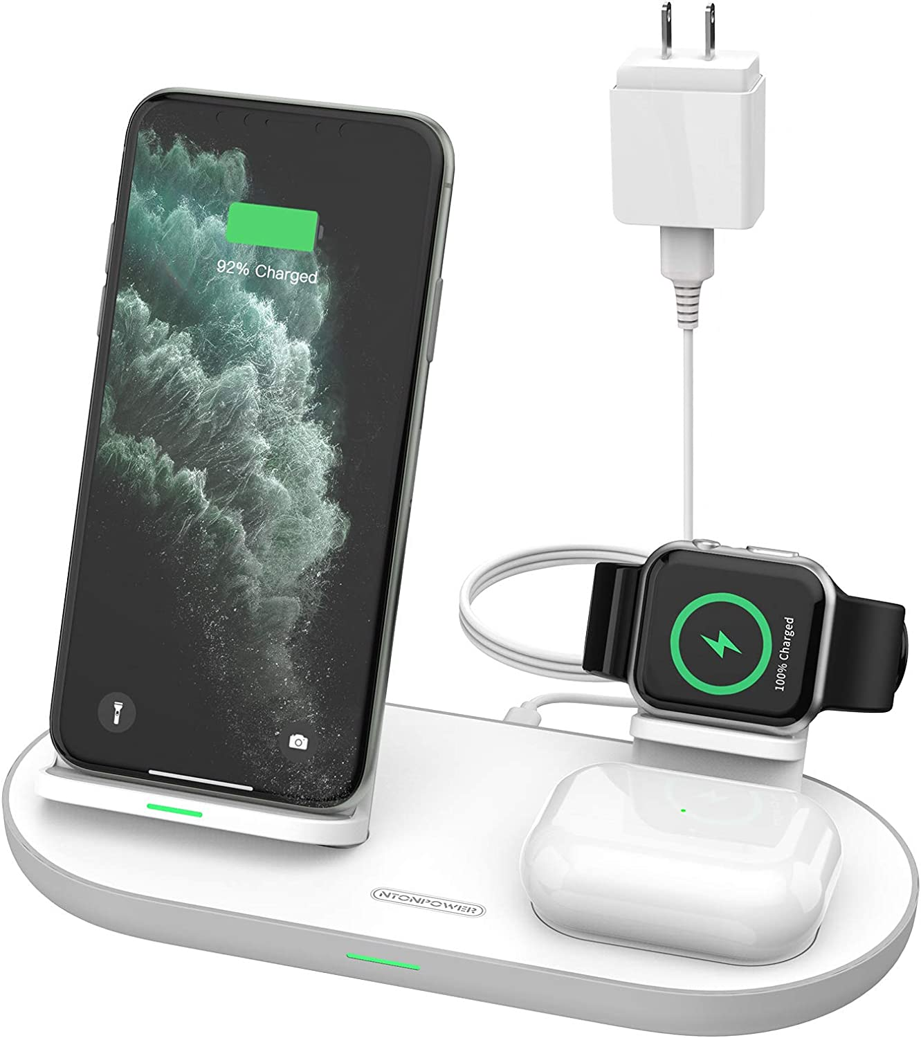 [2020 Latest] Wireless Charger, NTONPOWER 3 in 1 Wireless Charging Station for Aplpe Watch 6/5/4/3/2/1, Airpods Pro/2, Fast Qi-Certified Wireless Stand for iPhone 12/12 Mini/12 Pro/12 Pro Max/SE2