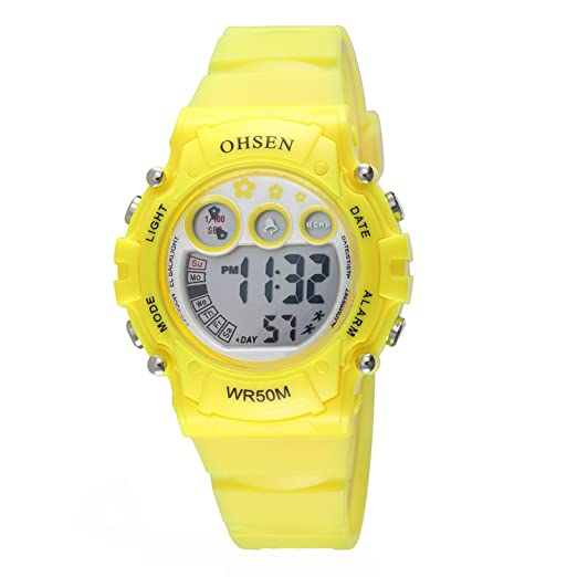 b1cbd8b4bb5f OHSEN Infantil Multifunción Reloj Deportivo Digital Luz fondo Reloj de  pulsera Resistente al agua 1508 - Amarillo  Amazon.es  Relojes