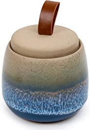 Bodico, Beautifully Glazed Ceramic Storage Jar for Cotton Pads or Q-Tips, 4 x 3.5 inches, Blue