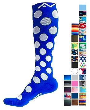 A-Swift Calcetines de compresión (1 par) para mujer y hombre (Blue Polka Dot, S): Amazon.es: Deportes y aire libre