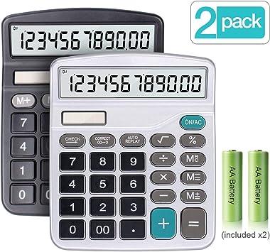 Schule 2-Pack Taschenrechner Bürorechner mit großem Display Tischrechner