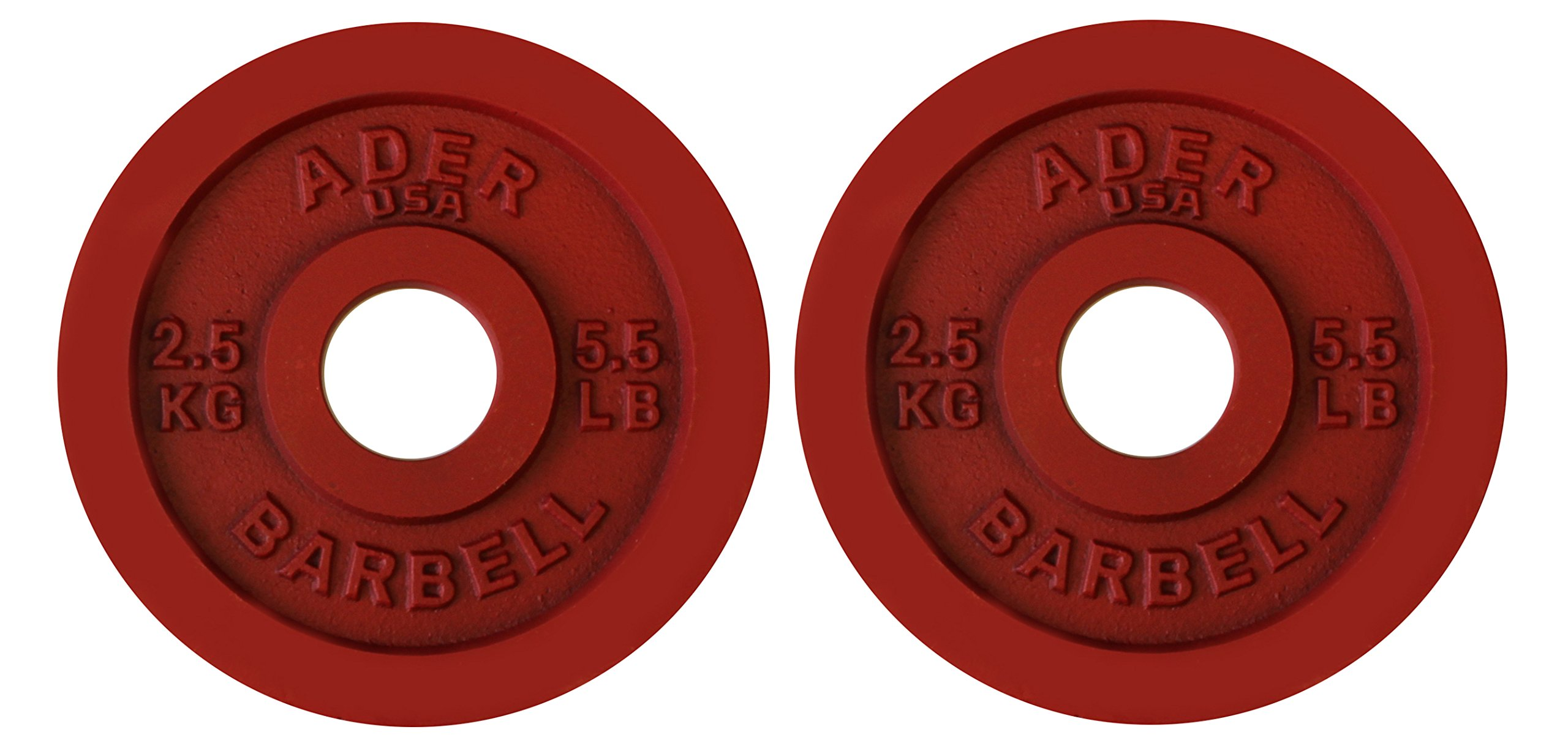 Ader Sporting Goods Precision Olympic Plates (2pcs), Red (2.5 KG)