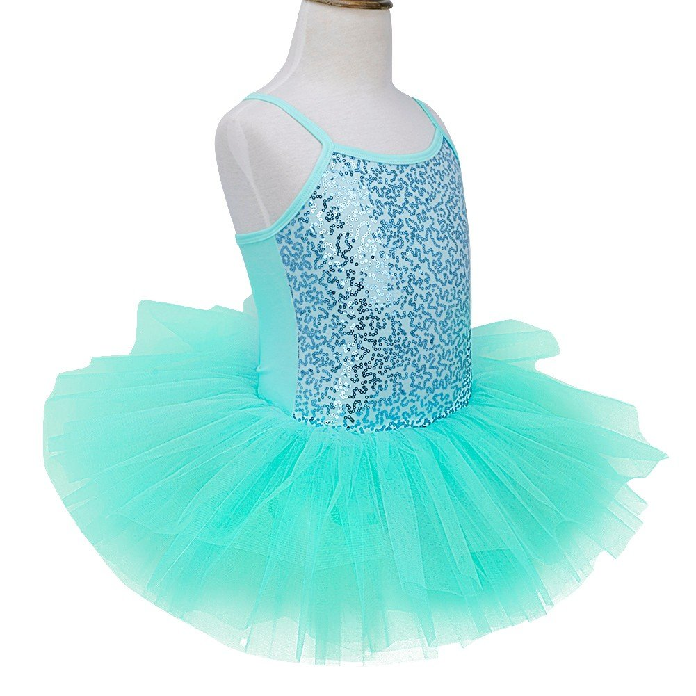 70894061295 TiaoBug Girls Sequined Ballet Dance Dress Gymnastic Leotard Tutu Skirt Dance  Costume larger image