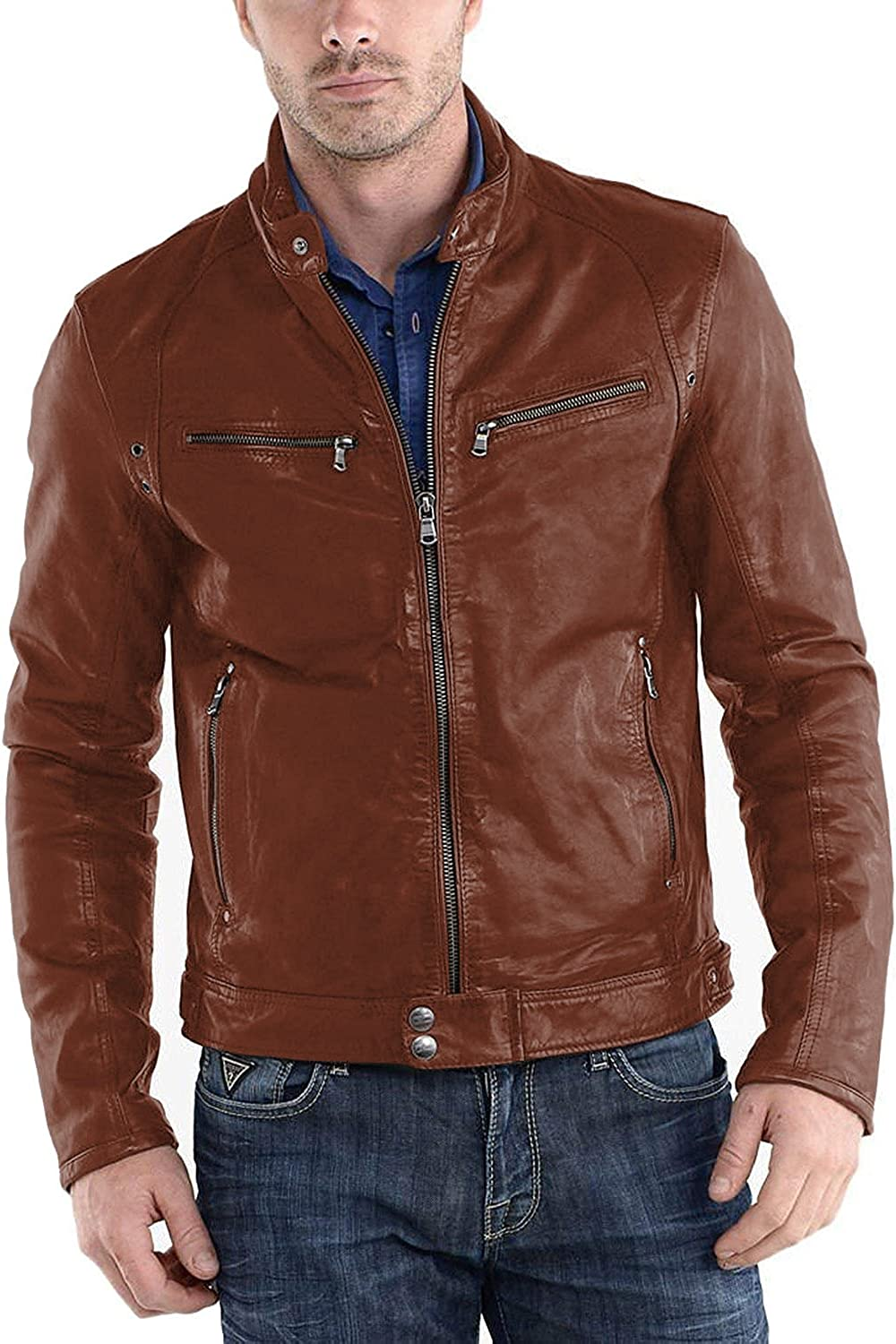 1501233 Laverapelle Mens Genuine Lambskin Leather Jacket Black, Racer Jacket