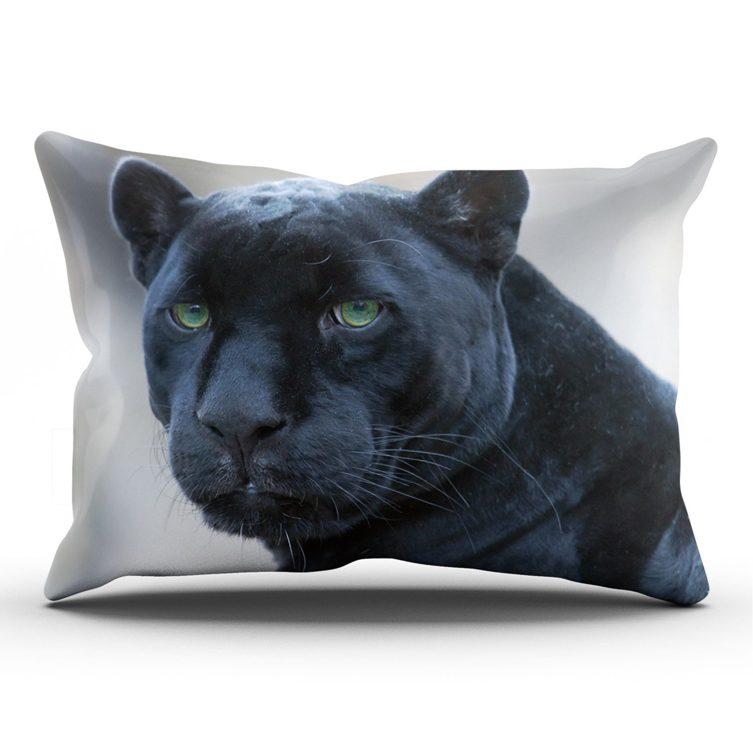 KEIBIKE Personalized Animals Jaguar Black Panther Rectangle Decorative Pillowcases Fashion Zippered King Pillow Covers Cases 20x36 Inches One Sided