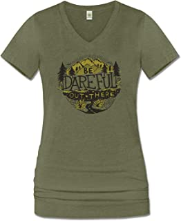 product image for Soul Flower Women's Be Dareful Out There Organic Cotton Recycled Short Sleeve T-Shirt, Ladies Long Green V-Neck Graphic Tee