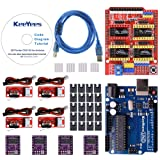 KeeYees Professional 3D Printer CNC Kit with Tutorial for Arduino, CNC Shield V3 w/Jumpers + UNO R3 Board + 4Pcs RAMPS 1.4 Mechanical Switch Endstop & DRV8825 GRBL Stepper Motor Driver Heat Sink (Color: 3D Printer Driver Modules)