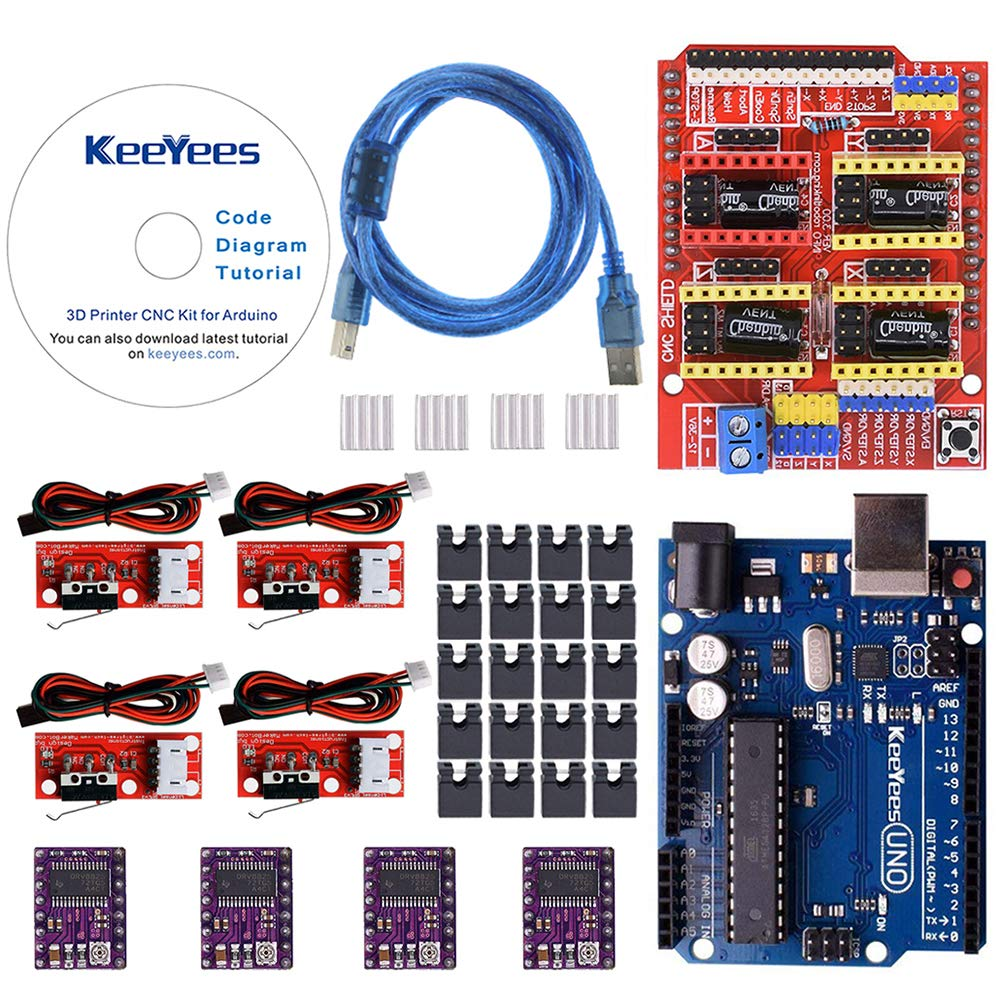 KeeYees Professional 3D Printer CNC Kit with Tutorial for Arduino, CNC Shield V3 w/Jumpers + UNO R3 Board + 4Pcs RAMPS 1.4 Mechanical Switch Endstop & ...