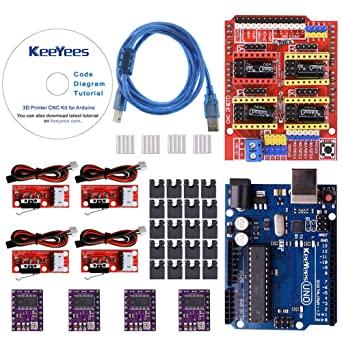 KeeYees Professional 3D Printer CNC Kit with Tutorial for Arduino, CNC  Shield V3 w/Jumpers + UNO R3 Board + 4Pcs RAMPS 1 4 Mechanical Switch  Endstop &