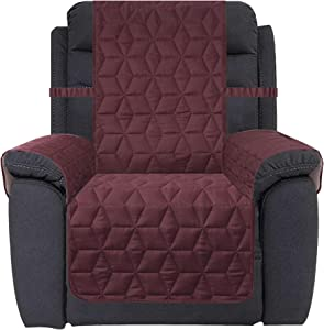Ameritex Waterproof Nonslip Recliner Cover Christmas Decor Stay in Place, Dog Couch Recliner Cover Furniture Protector for Pets and Kids (Burgundy, 30'')