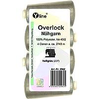 Lot de 4bobines Overlock–Fil à Coudre,–gris clair, A. 2743M, ne 40/2, 100% polyester, nähfaden, fil à coudre, 2962