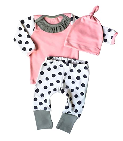 11dd4306e Amazon.com: ABEE Newborn Baby Girl Long Sleeve Tops T-Shirt + Dot Pants +  Pink Hat Outfits Clothes Clothing Set: Clothing