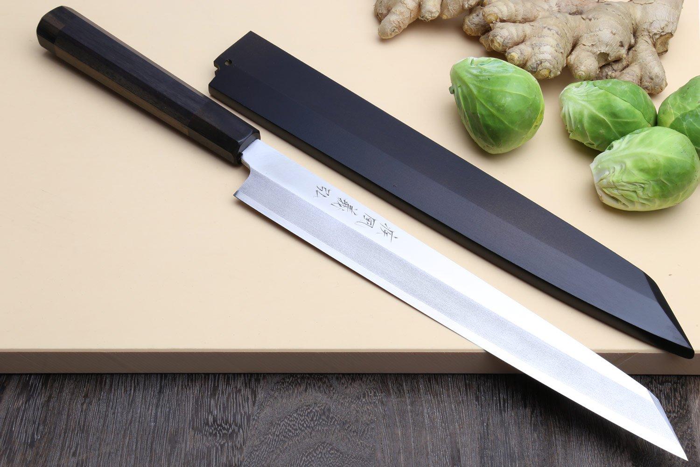 Yoshihiro VG-10 Stainless Steel Yanagi Kiritsuke Sushi Sashimi Japanese Knife with Rosewood Handle and Nuri Saya Cover (10.5'' (270mm)) by Yoshihiro