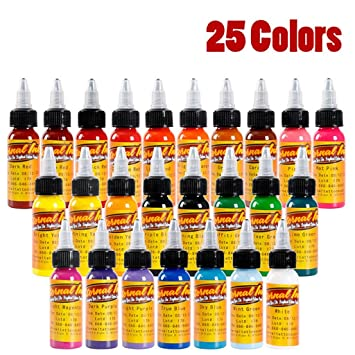 Amazon.com: Premium Tattoo Pigment Ink Kit 25 Basic Colors Tattoo ...
