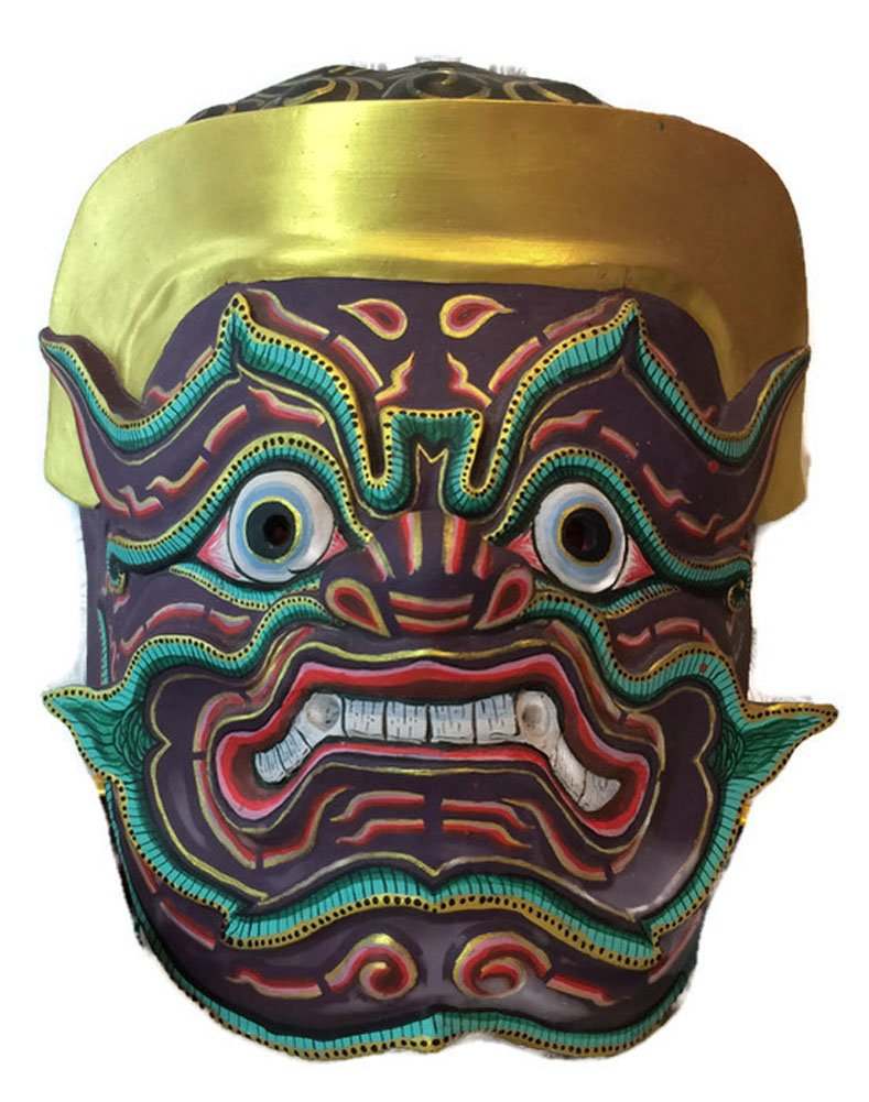 Thai Nontakarn Khon Mask For Hanging The Wall Or Decoration (Fiberglass, height 9 x width 8 x depth 4 inch) by Nammontip
