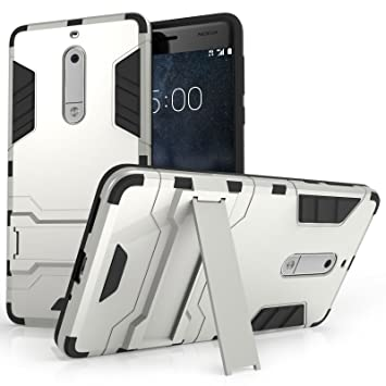 pretty nice 22913 52434 Centopi Nokia 5 Case, Extreme Heavy Duty Armour Case For The Nokia 5 |  Shockproof Dual Layer Full Body Cover | Drop and Impact Protection - Silver