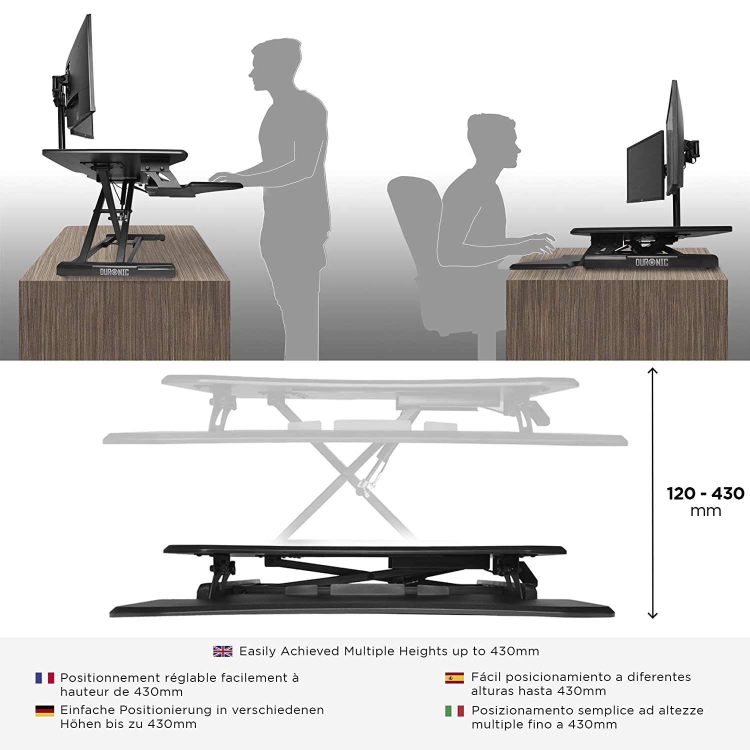 Details About Ergonomic Standing Desk Height Adjustable Sit Stand Up  Computer Workstation Tray