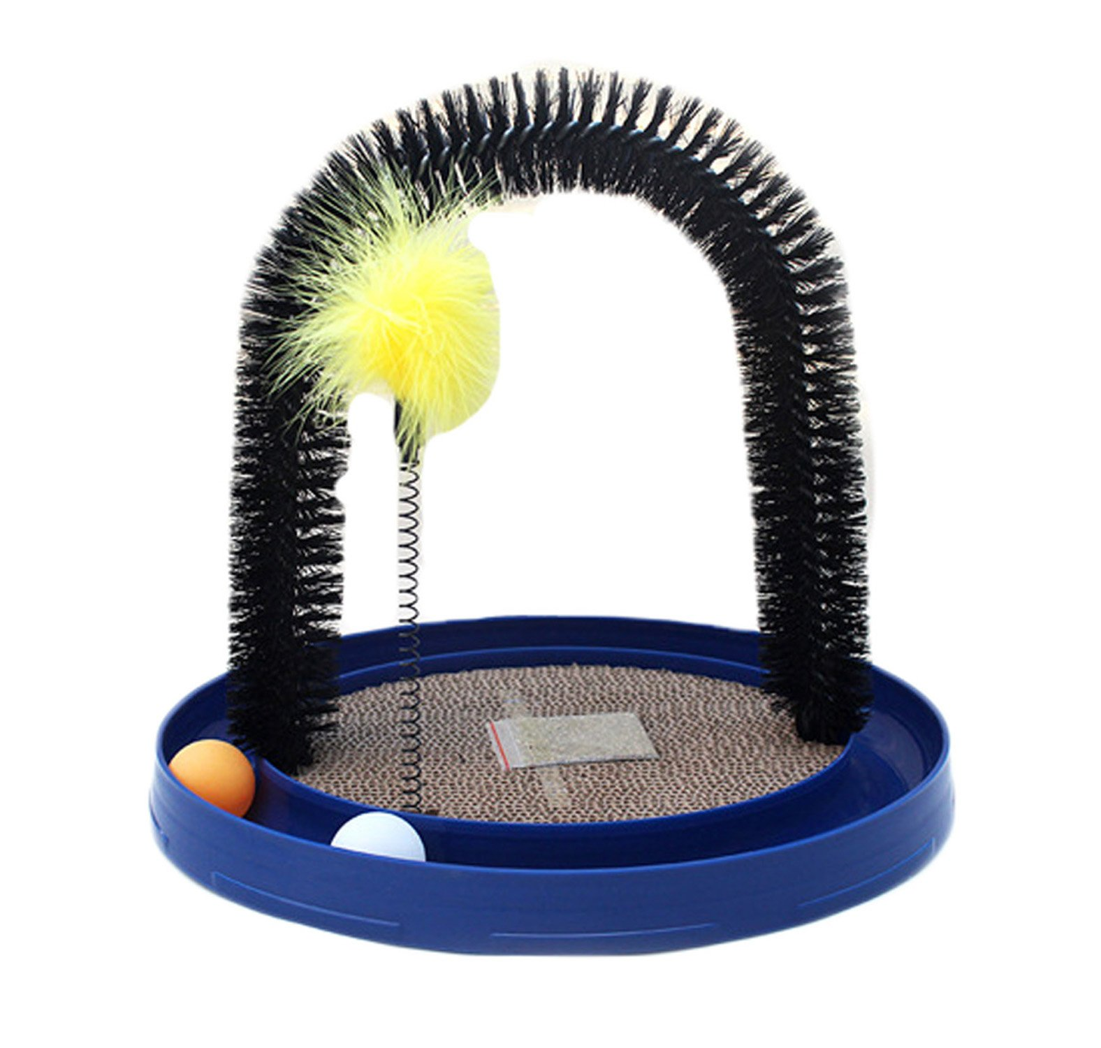 Turbo Scratcher Cat Toy, Cat Turbo Toy Durable and Replaceable with Catnip-Self Groomer And Massager Arch-Interactive Training Exercise Mouse Play Toy with Turbo and Ball,Blue