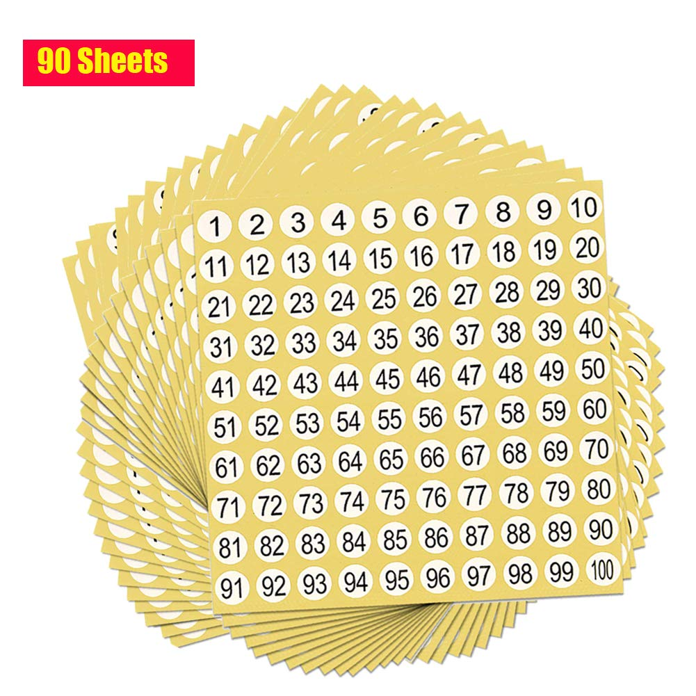 9000 Number Labels Fortspang Round Number Stickers,1 to 100 White Labels Stickers Sticky Dots Sheets 1cm 90 Sheets