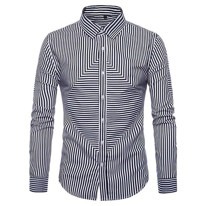 Resplend Trajes Ocasionales Formales Oxford de la Manga Larga para Hombre Camisas de Vestir Ajustadas de