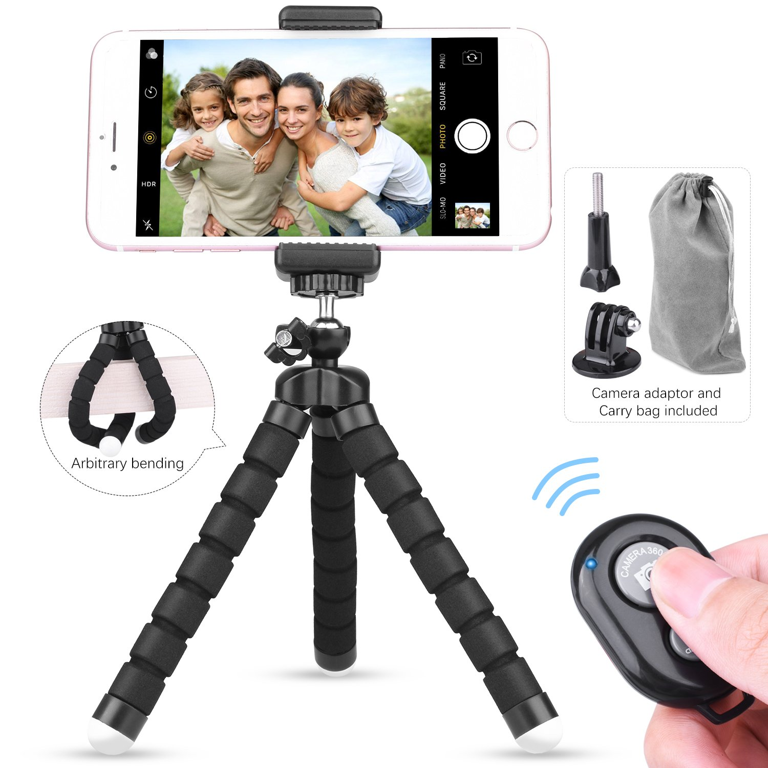 ETEPON Phone Tripod, Portable Flexible Mini Tripod Camera Stand Holder with Tripod Mount Bluetooth Remote Shutter, Camera Adapter Universal Clip & Portable Bag for iPhone, Android, DVS, GoPro EP001