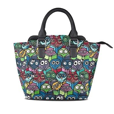 ce448c5f5106 Amazon.com: Colorful Cartoon Owl Leather Handbags Purses Shoulder ...