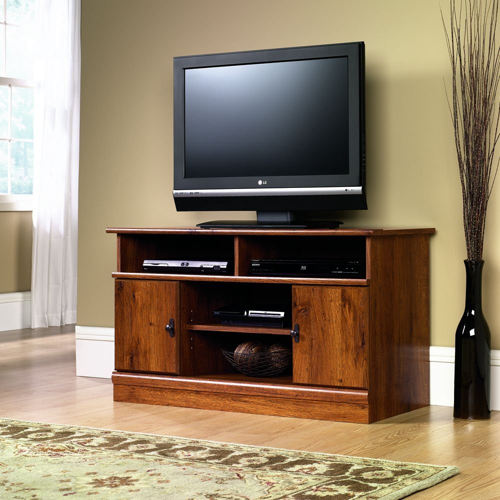 Floor tv stands for 55 inch flat screens - Sauder Harvest Mill Panel Tv Stand Abbey Oak Finish