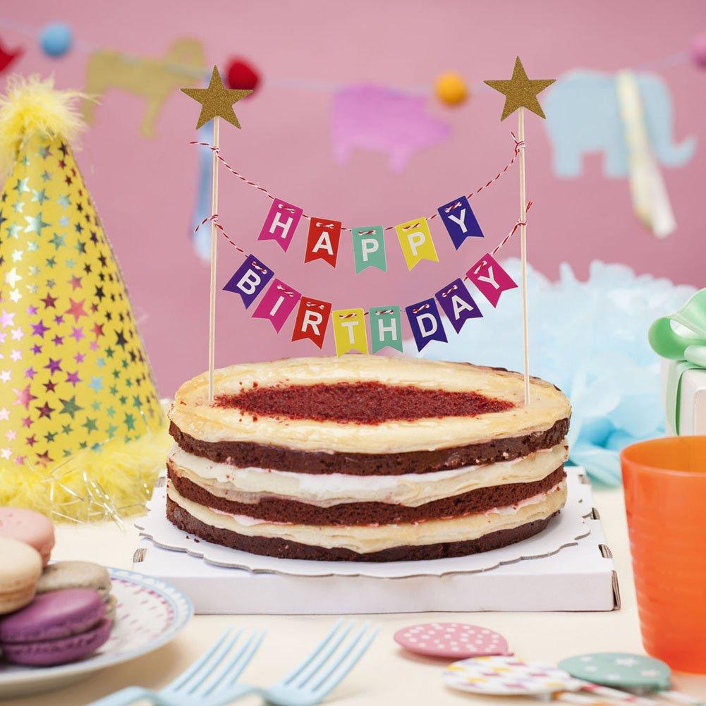 Veylin Rainbow Birthday Cake Bunting Topper For Kids Girls Boys
