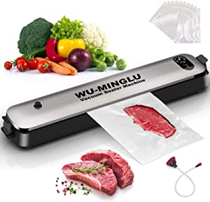 Vacuum Sealer Machine, Automatic Food Vacuum Sealer for Food Saver Food Sealers Vacuum Packing Machine with 20 Food Storage Bags&Air Suction Hose Led Indicator Lights| Easy to Clean| Compact Design